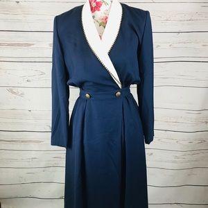 Chaus 6 blue&white sailor stretchy maxi dress